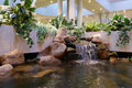 Indoor waterfall waterall used as feature decoration Stock Photo