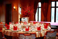 Indoor wedding scene table set for dining an party Royalty Free Stock Images