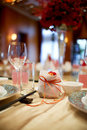 Indoor wedding scene table set for dining an party Royalty Free Stock Photo