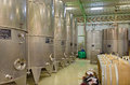 Indoor of wine manufacturer great Slovak producer. Modern big cask for the fermentation. Stock Photo