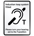Induction loop facility information sign monochrome system public isolated on white background Royalty Free Stock Image