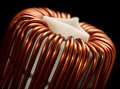 Inductor detail of a electronic conductor in dark back Royalty Free Stock Photos