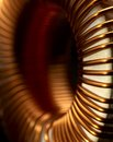Inductor detail of a electronic conductor in dark back Royalty Free Stock Photo