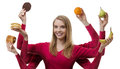 Indulge yourself woman with six arms holding fruit and cakes in each hand Stock Images