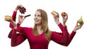 Indulge yourself woman with six arms holding fruit and cakes in each hand Stock Photography