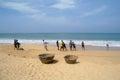 Induruwa sri lanka apr sri lankan fishermen pull big net in induruwa sri lanka fishing is a key occupation on sri la mar sea coast Royalty Free Stock Photos