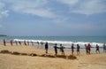 Induruwa sri lanka apr sri lankan fishermen pull big net in induruwa sri lanka fishing is a key occupation on sri la mar sea coast Royalty Free Stock Photography
