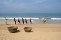 Induruwa sri lanka mar lankan fishermen pull big net in fishing is a key occupation on sea coast Stock Photos