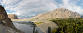 Indus river panorama in the karakorum mountain range in northern pakistan Royalty Free Stock Photo