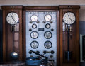 Industrial ancient control clocks of of the railway estaciónde of venice italy Royalty Free Stock Photography