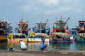 Industrial Asian fishing port. Royalty Free Stock Photos
