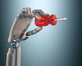 Industrial automation robot hand holding a screwdriver on the concept of clipping path included Stock Photos
