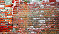 Industrial background. Weathered red brick wall of two parts. Empty grunge urban street warehouse brick wall Royalty Free Stock Photo