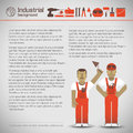 Industrial background with workman vector illustration eps contains transparencies Royalty Free Stock Photo