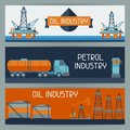 Industrial banners design with oil and petrol
