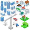 Industrial based on isometric projection of a three-dimensional houses, buildings, cranes, cars and other design