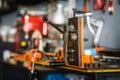 Industrial bender equipment machine for metal pipe bending. Sele Royalty Free Stock Photo