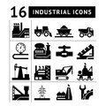 Industrial black icons set Royalty Free Stock Photography
