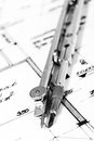 Industrial blueprints closeup Royalty Free Stock Photo