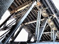 Industrial bridge the underside of a very large steel with many steel beams Royalty Free Stock Images