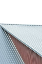 Industrial building roof sheets, grey steel rooftop pattern, isolated Royalty Free Stock Photo
