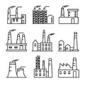 Industrial buildings thin line icons set. Plant and factrories. Heavy industry power and nuclear plants.
