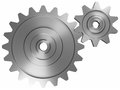 Industrial and business processing and working concept two steel interlocking cogwheels on front view over isolated white Stock Image