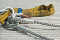 Industrial cable with shackle as construction site equipment Stock Image