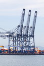 Industrial cargo cranes in industrial port photo of Stock Image