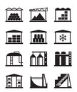 Industrial and commercial warehouses vector illustration Stock Image