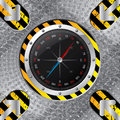 Industrial compass design with grunge stripes and metallic plate Stock Photography