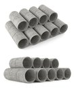 Industrial concrete pipes tubes at the white background Stock Images