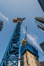 Industrial construction cranes skyscrapers Royalty Free Stock Photo
