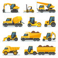 Industrial construction equipment and machinery flat vector icons Royalty Free Stock Photo