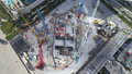 Industrial construction site aerial drone image Royalty Free Stock Photo