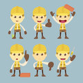 Industrial construction worker character set cartoon Royalty Free Stock Image