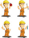 Industrial construction worker customizable mascot a vector set of a male in several poses drawn in cartoon style this vector is Stock Photo