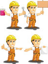 Industrial construction worker customizable mascot a vector set of a male in several poses drawn in cartoon style this vector is Stock Photos