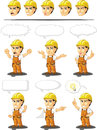 Industrial construction worker customizable mascot a vector set of a male in several poses drawn in cartoon style this vector is Stock Image
