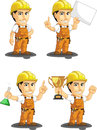Industrial construction worker customizable mascot a vector set of a male in several poses drawn in cartoon style this vector is Stock Photography