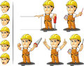 Industrial construction worker mascot a vector set of a male in several poses drawn in cartoon style this vector is very good for Stock Images