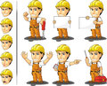 Industrial construction worker mascot a vector set of a male in several poses drawn in cartoon style this vector is very good for Royalty Free Stock Photos