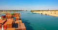 Industrial container ship passing through suez canal with ship s convoy view on the bow from the captain bridge Stock Images