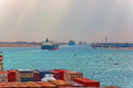 Industrial container ship passing through suez canal with ship s convoy view on the bow from the captain bridge Stock Photography