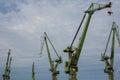 Industrial cranes in Gdansk shipyards Stock Image