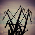 Industrial cranes in gdansk shipyards view massive the poland Royalty Free Stock Photography