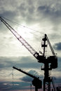 Industrial cranes in gdansk shipyards view massive the poland Royalty Free Stock Image