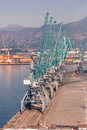 Industrial cranes in seaport batumi Stock Photos