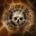 Industrial death machine head skull materialising against a grunge texture background of rusty dials gears and cogwheels Royalty Free Stock Photo