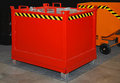 Industrial dumpster red steel bin for use Royalty Free Stock Image